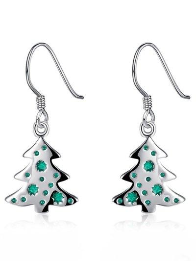 Enamel Tree Christmas Earrings - Green