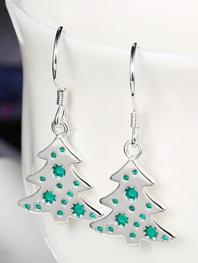 Enamel Tree Christmas Earrings - GREEN  Mobile