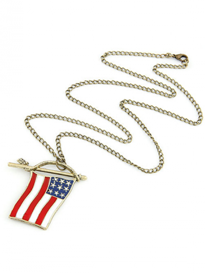 Stars and Stripes Flag Pendant Sweater Chain - GOLDEN  Mobile
