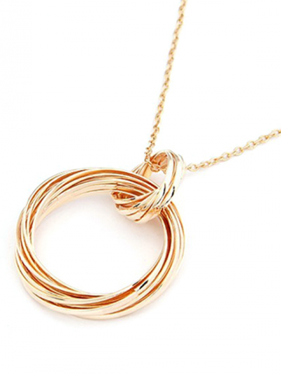 Two Hollow Circle Rings Sweater Chain - GOLDEN  Mobile