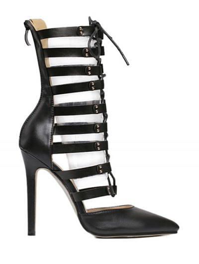 Pointed Toe Hollow Out Lace-Up Pumps - BLACK 39 Mobile