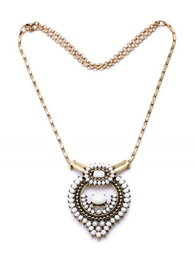 Vintage Bead Decorated Necklace - GOLDEN  Mobile