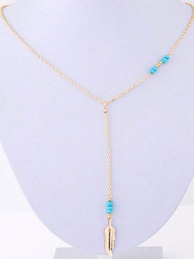 Leaf Pendant Bead Necklace - GOLDEN  Mobile