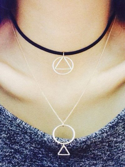 Hollow Round Triangle Pendant Double Necklace - BLACK  Mobile