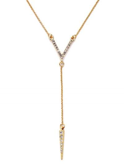 Rhinestone Bullet Pendant Necklace - GOLDEN  Mobile