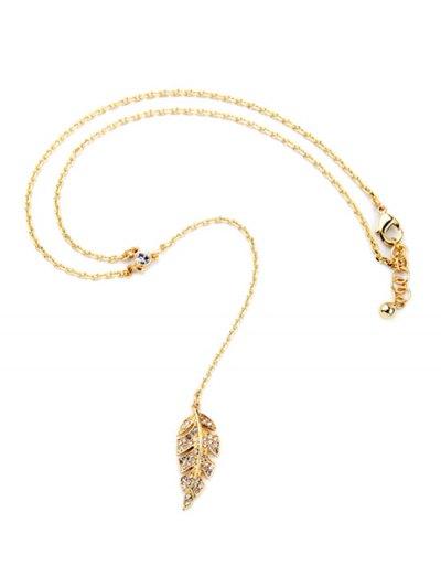 Vintage Long Style Leaf Necklace - GOLDEN  Mobile