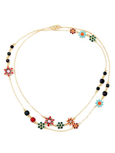 Rhinestone Glaze Floral Necklace - GOLDEN  Mobile
