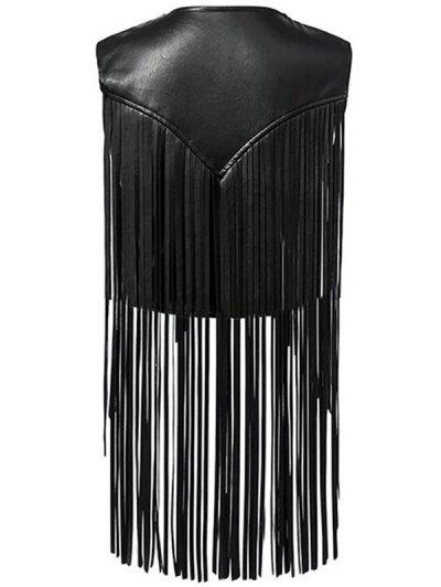PU Leather Tassels V Neck Waistcoat - BLACK M Mobile