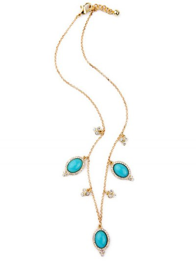 Fake Turquoise Oval Necklace - GOLDEN  Mobile