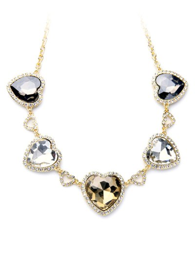 Stylish Heart Faux Crystal Necklace - GOLDEN  Mobile