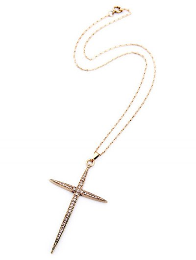 Cross Rhinestone Necklace - GOLDEN  Mobile