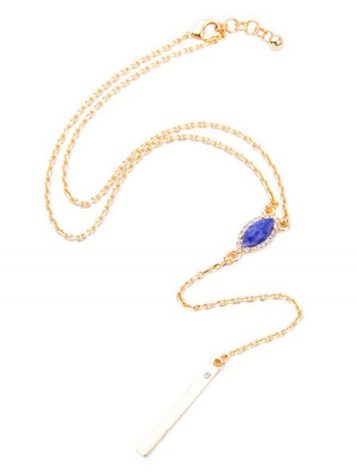 Oval Faux Sapphire Pendant Necklace - GOLDEN  Mobile