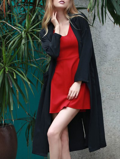 Back Slit Lapel Collar Long Sleeve Long Coat - BLACK M Mobile