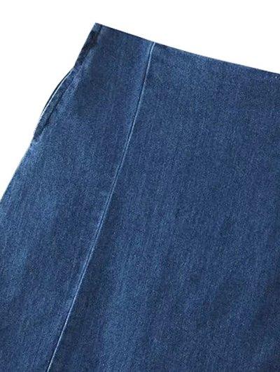 Two Pockets Denim Mini Skirt - BLUE S Mobile