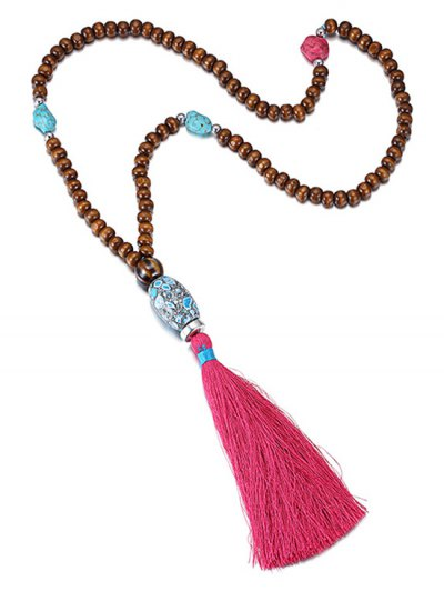 Ethnic Bead Tassel Necklace - ROSE  Mobile