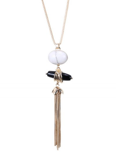 Trendy Natural Stone Sweater Chain - GOLDEN  Mobile