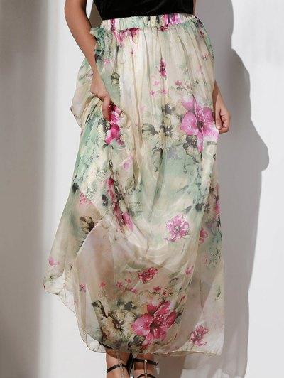 Floral Elastic Waist A Line Skirt - COLORMIX M Mobile