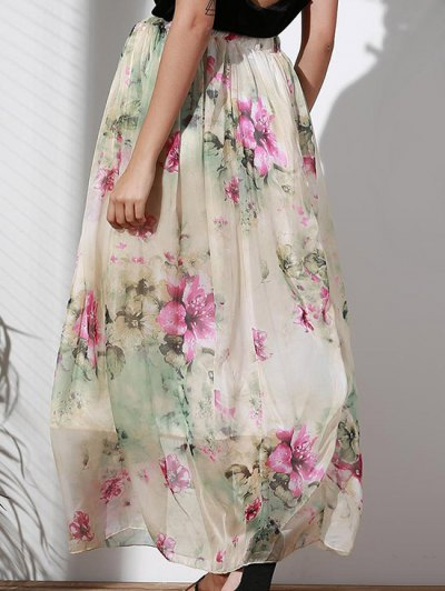Floral Elastic Waist A Line Skirt - COLORMIX S Mobile