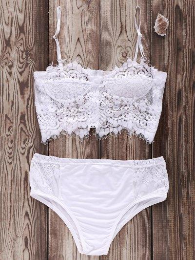 Zip Up Lace Cami Bikini Set - White