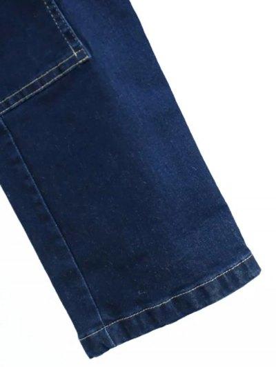 Deep Blue Denim Turn Down Collar Long Sleeve Jumpsuit - DEEP BLUE S Mobile