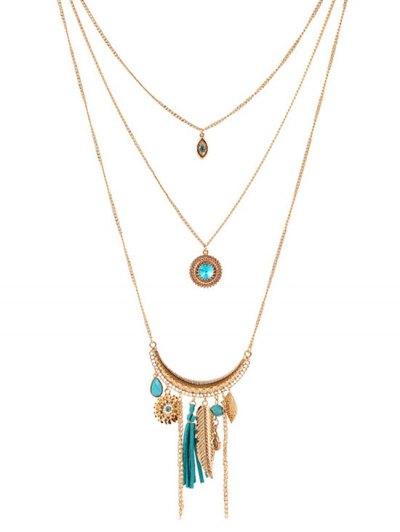Multilayered Rhinestone Decorated Necklace - LAKE BLUE  Mobile