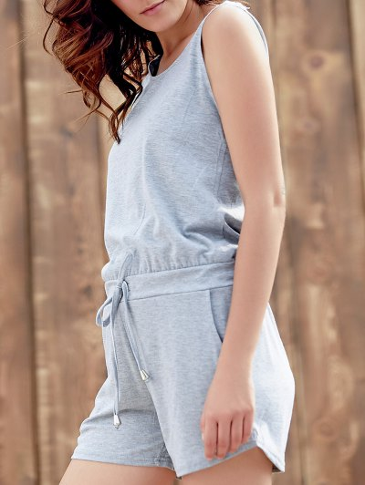 Solid Color Scoop Neck Sleeveless Playsuit - GRAY L Mobile