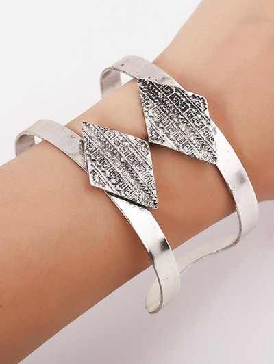 Carving Rhombus Cuff Bracelet - SILVER  Mobile