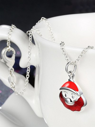 Enamel Santa Claus Christmas Necklace - RED  Mobile