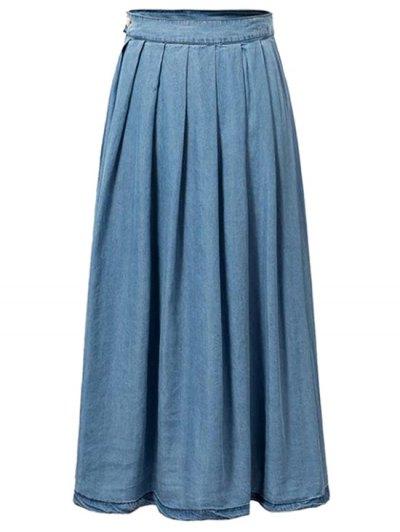 Pleated Blue Full Skirt - BLUE M Mobile