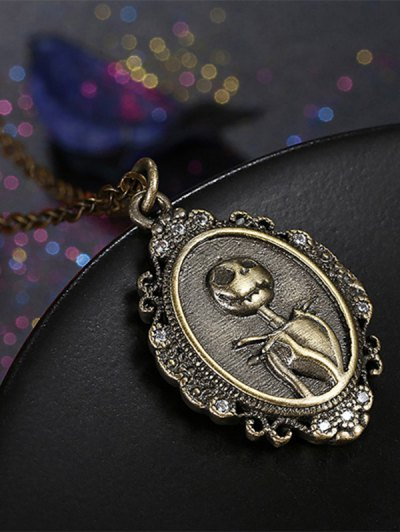 Christmas Jack Figure Pendant Necklace - BRONZE-COLORED  Mobile