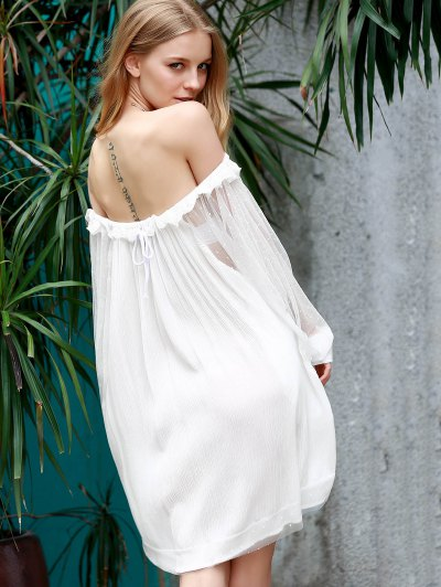Off The Shoulder Loose See-Through Bat-Wing Sleeve Dress - WHITE L Mobile