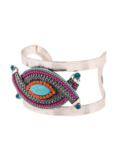 Stone Decorated Oval Cuff Bracelet - PEACOCK BLUE  Mobile