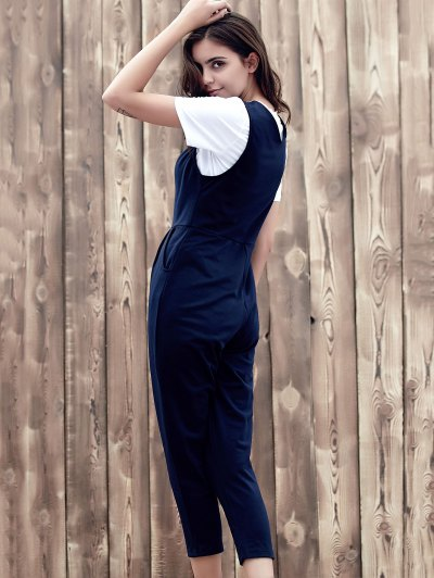 Fitting Solid Color Plunging Neck Sleeveless Jumpsuit - PURPLISH BLUE L Mobile