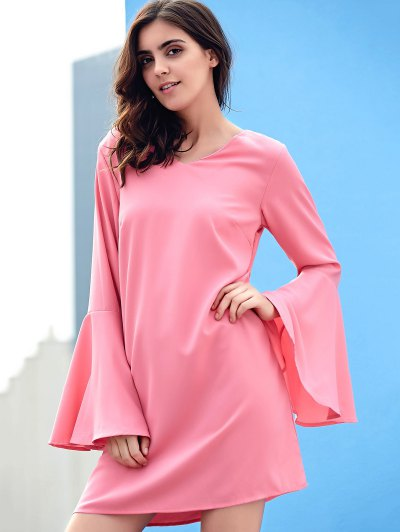 Loose Pink V Neck Flare Sleeve Dress - PINK L Mobile