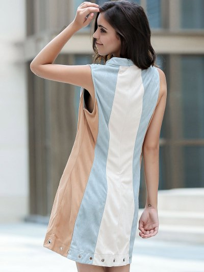 Cut Out Hit Color Round Neck Sleeveless Dress - BLUE GRAY M Mobile