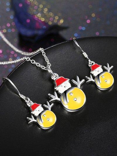 Enamel Snowman Christmas Jewelry Set - YELLOW  Mobile