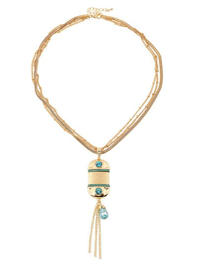Faux Beryl Tassel Multilayered Necklace - GOLDEN  Mobile