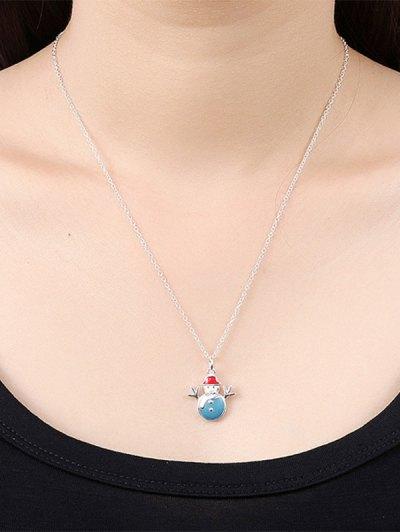 Enamel Snowman Christmas Jewelry Set - BLUE  Mobile