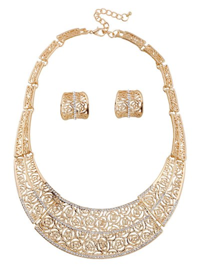A Suit of Rose Hollow Out Necklace and Earrings - GOLDEN  Mobile