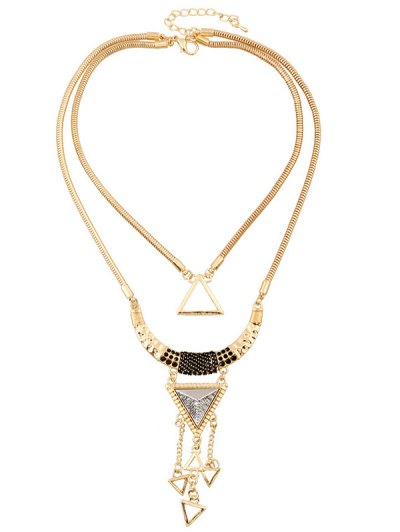 Hollow Triangle Pendant Necklace - GOLDEN  Mobile