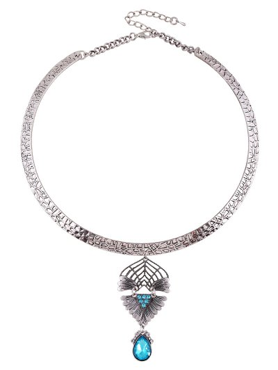 Faux Crystal Decorated Torque Necklace - PEACOCK BLUE  Mobile