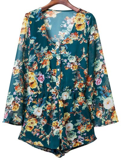 Flower Print V Neck Long Sleeve Chiffon Romper - PURPLISH BLUE L Mobile