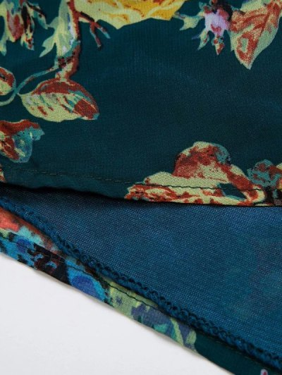 Flower Print V Neck Long Sleeve Chiffon Romper - PURPLISH BLUE S Mobile