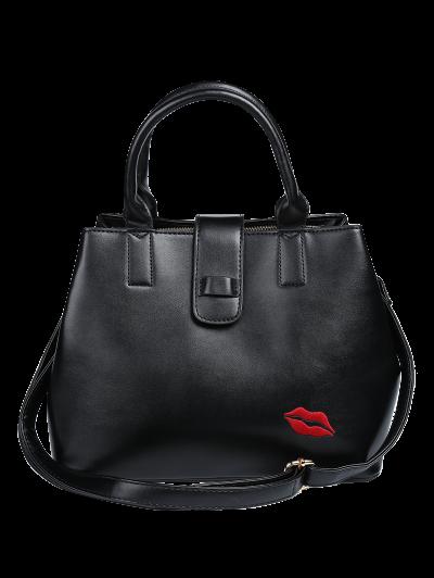 Chains Embroidered Lip Handbag - BLACK  Mobile