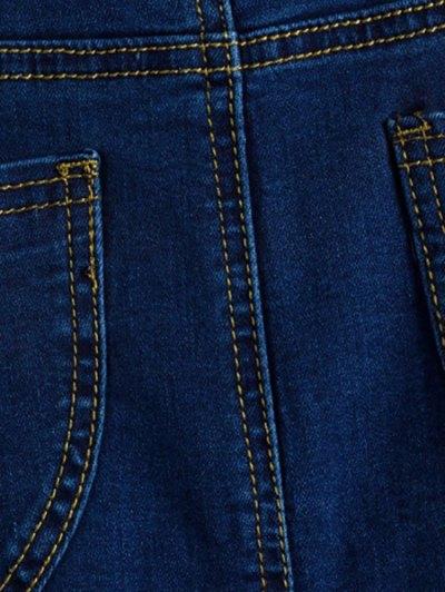 Fitted Packet Buttock High Waist Denim Skirt - DEEP BLUE XL Mobile