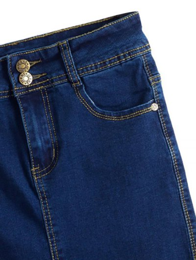 Fitted Packet Buttock High Waist Denim Skirt - DEEP BLUE M Mobile