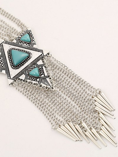 Faux Turquoise Triangle Tassel Necklace - SILVER  Mobile