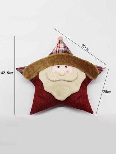 Santa Claus Star Pillow Merry Christmas Decoration - WHITE  Mobile