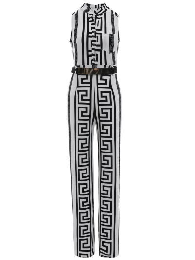 Printed Stand Neck Sleeveless Jumpsuit - WHITE S Mobile