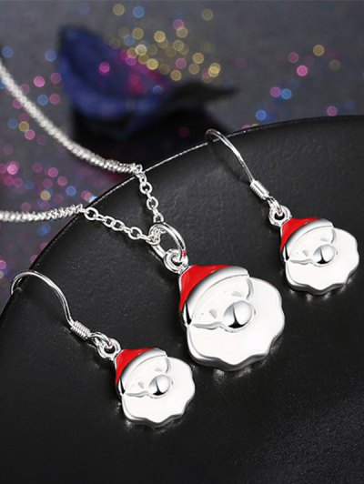 Christmas Santa Claus Enamel Jewelry Set - White